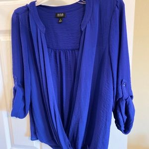 Royal blue open front blouse